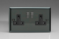 Varilight 2 Gang 13 Amp Switched Electrical Plug Socket Iridium Black Dec Switch Black Insert XI5DB